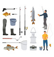 fisherman with fish fish-rod and tackle icon vector image vector image