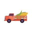 flat farmer truck pickup delivering harvest food vector image vector image