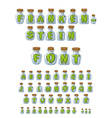 Frankenstein font Green Letters in laboratory jars vector image