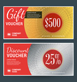 Golden and Silver Gift Voucher Design Print vector image
