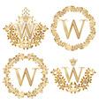 Golden W letter vintage monograms set Heraldic vector image vector image