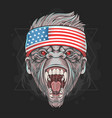 gorilla head with usa flag bandana element vector image