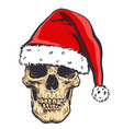 graphical skull in new years hat vector image vector image
