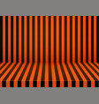 halloween orange-black striped room background vector image