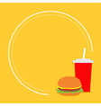 Hamburger and soda with straw Cinema round frame vector image vector image