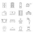Hotel icons set in outline style vector image vector image