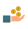 Human hand with money icon vector image