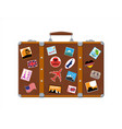 leather retro bag with stickers vector image vector image