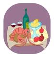 Lobster with wine lemon pomegranates still life vector image