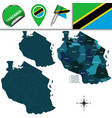 map of tanzania with named regions vector image vector image