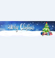 merry christmas lettering over night sky vector image