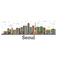 outline seoul south korea city skyline with color vector image vector image
