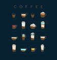 poster coffee flat dark blue cups vector image vector image