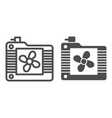 radiator fan line and glyph icon cooler vector image vector image
