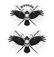 raven sword skull vector image vector image