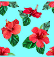 red hibiscus tropical flowers seamless pattern vector image vector image
