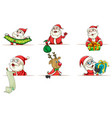 santa and reindeer in different actions vector image vector image