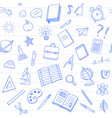 School seamless pattern with blue pen doodles