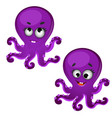 set of funny laughing purple octopus isolated on vector image