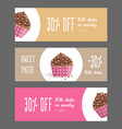 set of horizontal narrow banners with cake vector image vector image