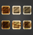 Set of shiny wooden concave square button vector image vector image