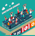 spectator stands with fans isometric vector image
