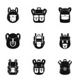 study backpack icon set simple style vector image vector image