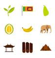 symbols of sri lanka icons set flat style vector image vector image