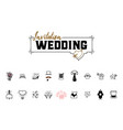 wedding icons large set for organizing and vector image