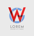 wg logo letters with blue and red gradation vector image vector image