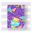 win sign with bright lines dots and geometric vector image