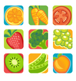abstract fruit and vegetable icons vector image
