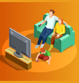 family watching tv home isometric image vector image