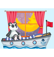 A panda sitting above the boat beside a window vector image