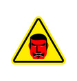 angry boss warning sign yellow evil head hazard vector image vector image
