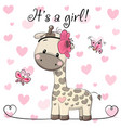 baby shower greeting card with giraffe girl vector image vector image