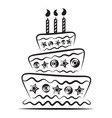 birthday cake on white background vector image vector image