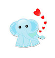 blue elephant cartoon with hearts on white vector image