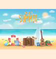 bright summer sea beach with summer object vector image