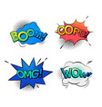 bubble speeches for wow and omg oops and boom vector image vector image