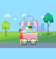candy cotton poster and seller vector image