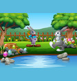 cartoon easter rabbit playing in the park vector image vector image