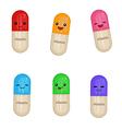 Cartoon medical capsules vector image