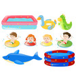 children swimming and other equipments vector image