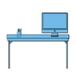 color wood desk object with computer screen vector image