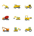 construction heavy vehicle icon set flat style vector image vector image