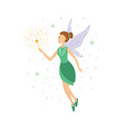 cute green fairy in flight with a magic wand vector image vector image