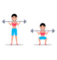 exercise squatting with a barbell vector image vector image