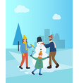 family building snowman in winter city town park vector image vector image