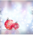 festive winter background with red holiday balls vector image